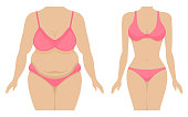 Vector illustration of a fat and thin female body