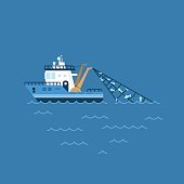 vector illustration of a fishing boat, fishing ship with a catch in the network sails on the sea