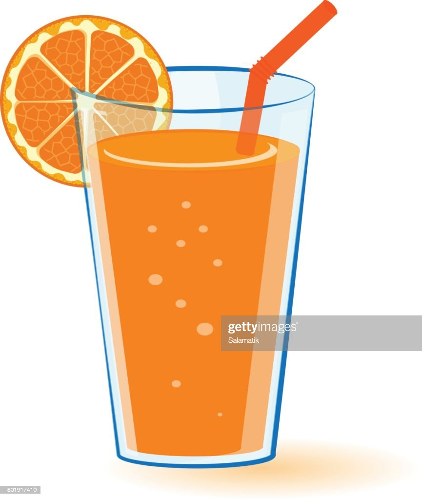 Vector Illustration Of A Glass Of Orange Juice With Orange