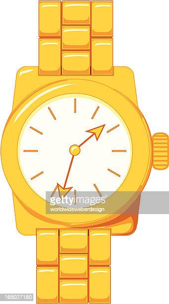 Vector Illustration of a Gold Wristwatch