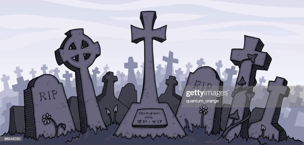 Vector illustration of a gray graveyard