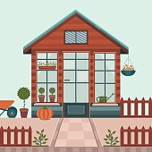 Vector illustration of a greenhouse.