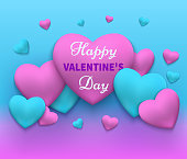 Vector illustration of a happy day valentine's. Pink and blue 2018 hearts gathered in different fon.Vektor valentines day