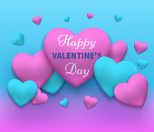 Vector illustration of a happy day valentine's. Pink and blue 2018 hearts gathered in different fon.Vektor