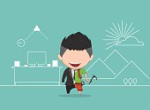 Vector illustration of a happy face businessman.