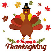 Vector Illustration of a Happy Thanksgiving Celebration Design with Cartoon Turkey and Autumn Leaves.