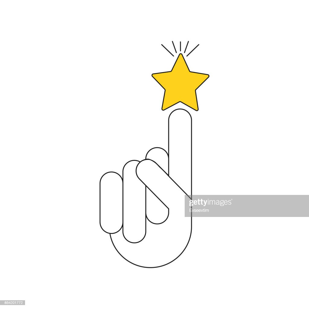 Vector illustration of a human hand. Icon with the image of the silhouette of the hand and the golden star for the application, website, infographic, business presentation on a white background