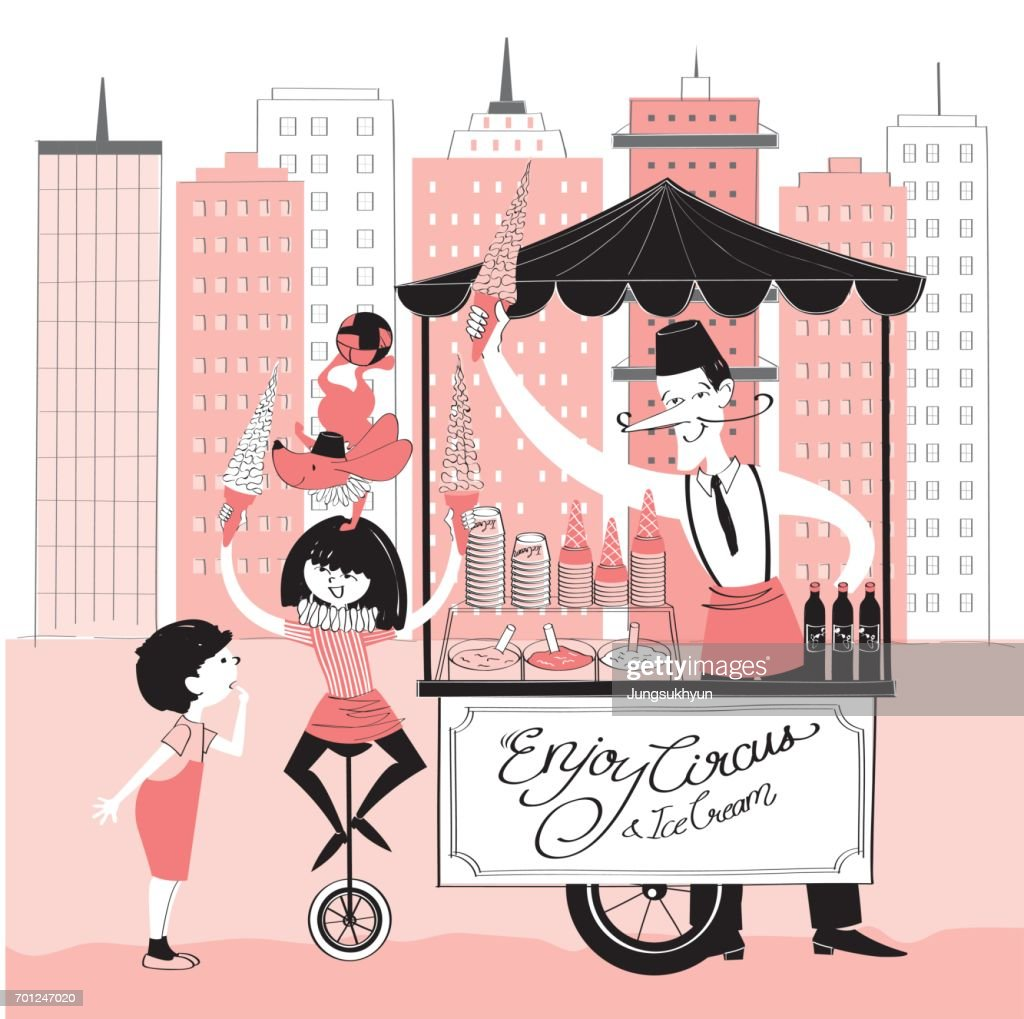 Vector illustration of a icecream seller, a circus girl, a dog and a boy with a icecream truck