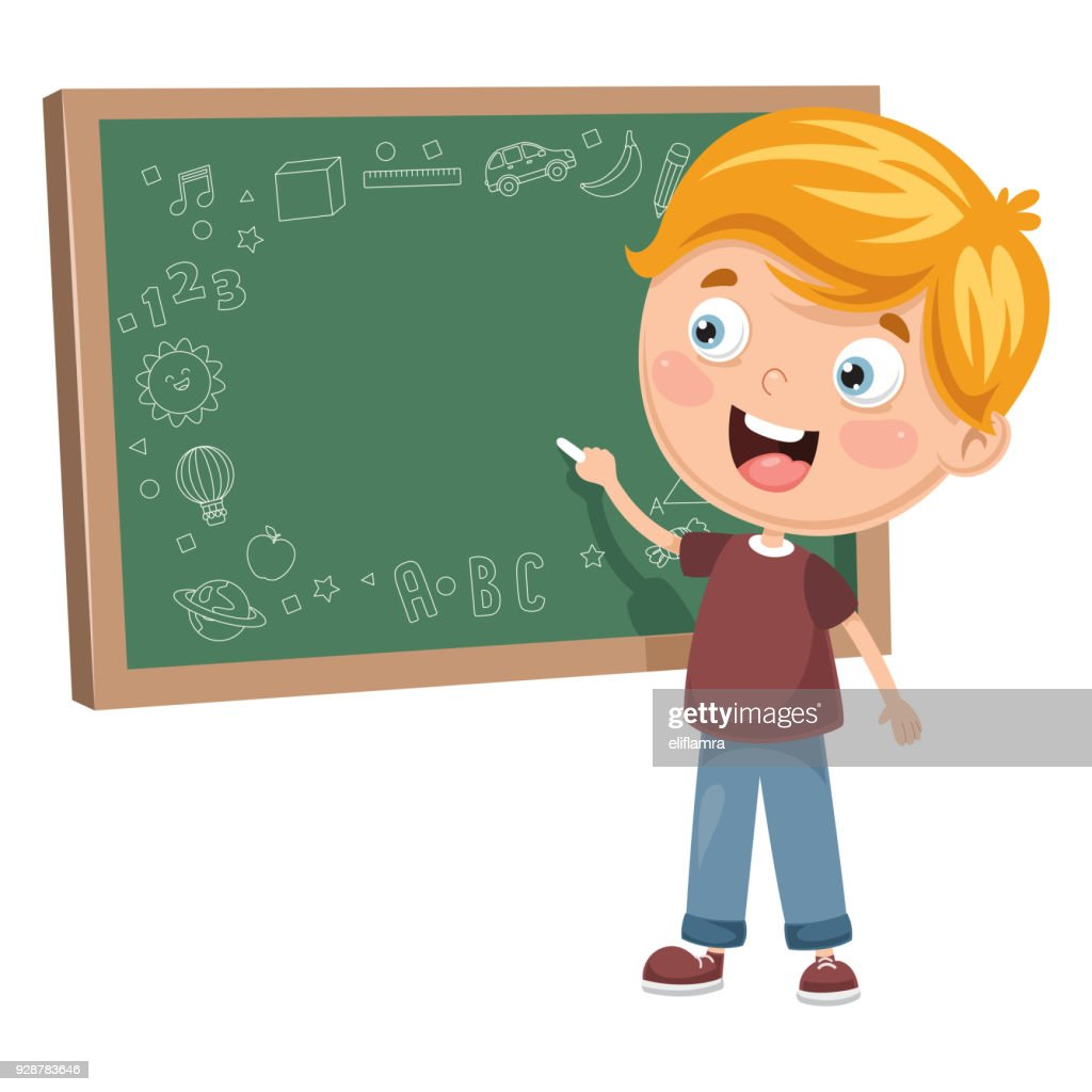 Vector Illustration Of A Kid Writing On Board