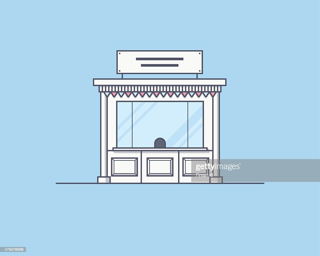 Vector illustration of a kiosk. Trading and market place concept