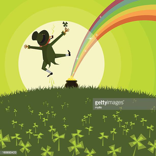 vector illustration of a leprechaun and a pot of gold - st patrick's day stock illustrations