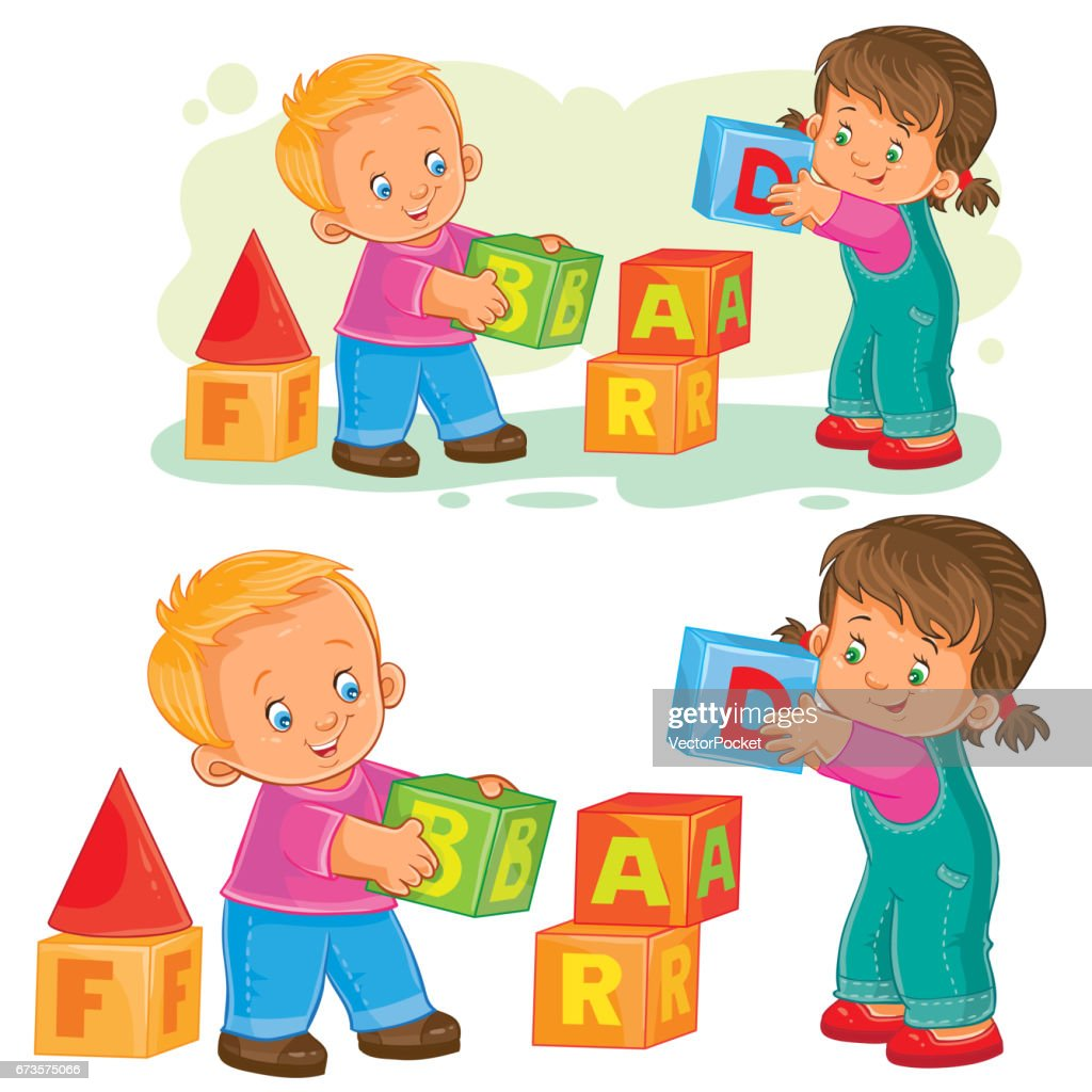 Vector illustration of a little girl and boy playing with cube