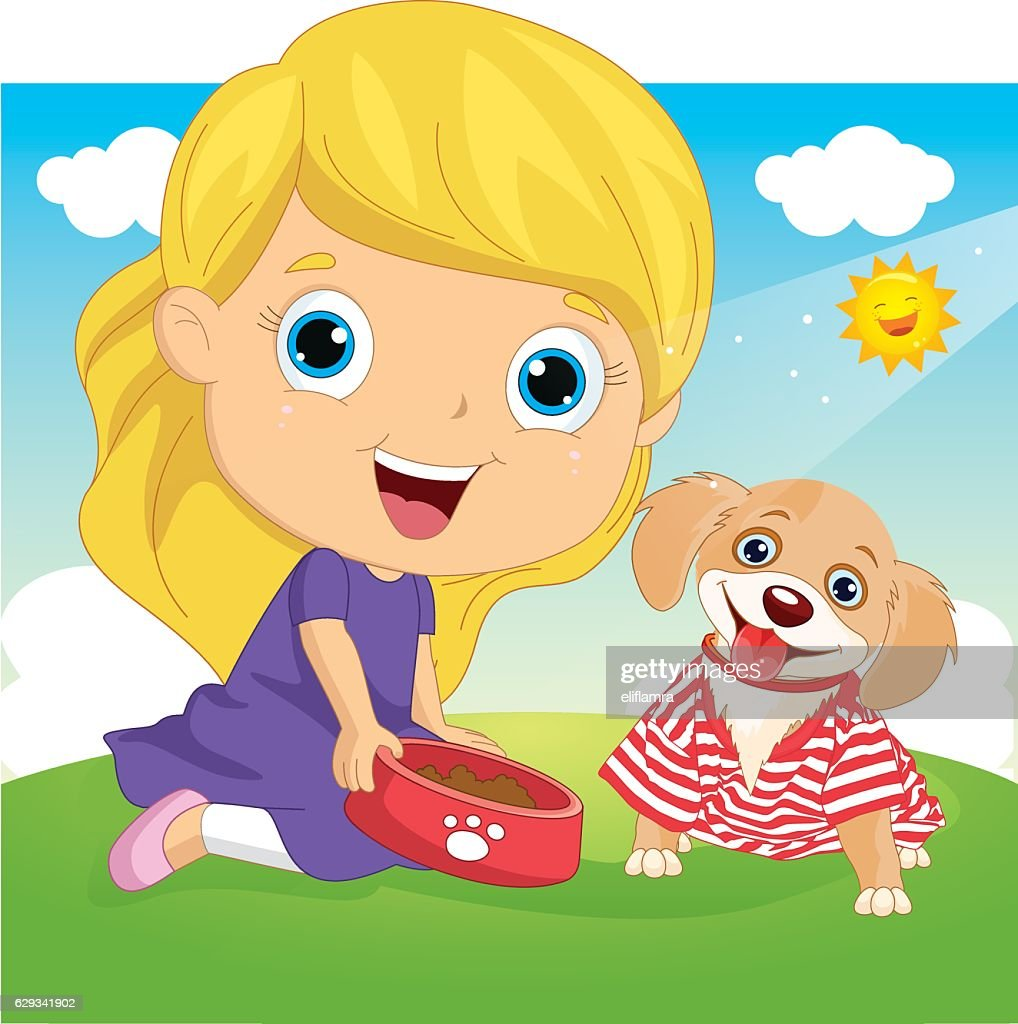 Vector Illustration Of A Little Girl Playing With Dog