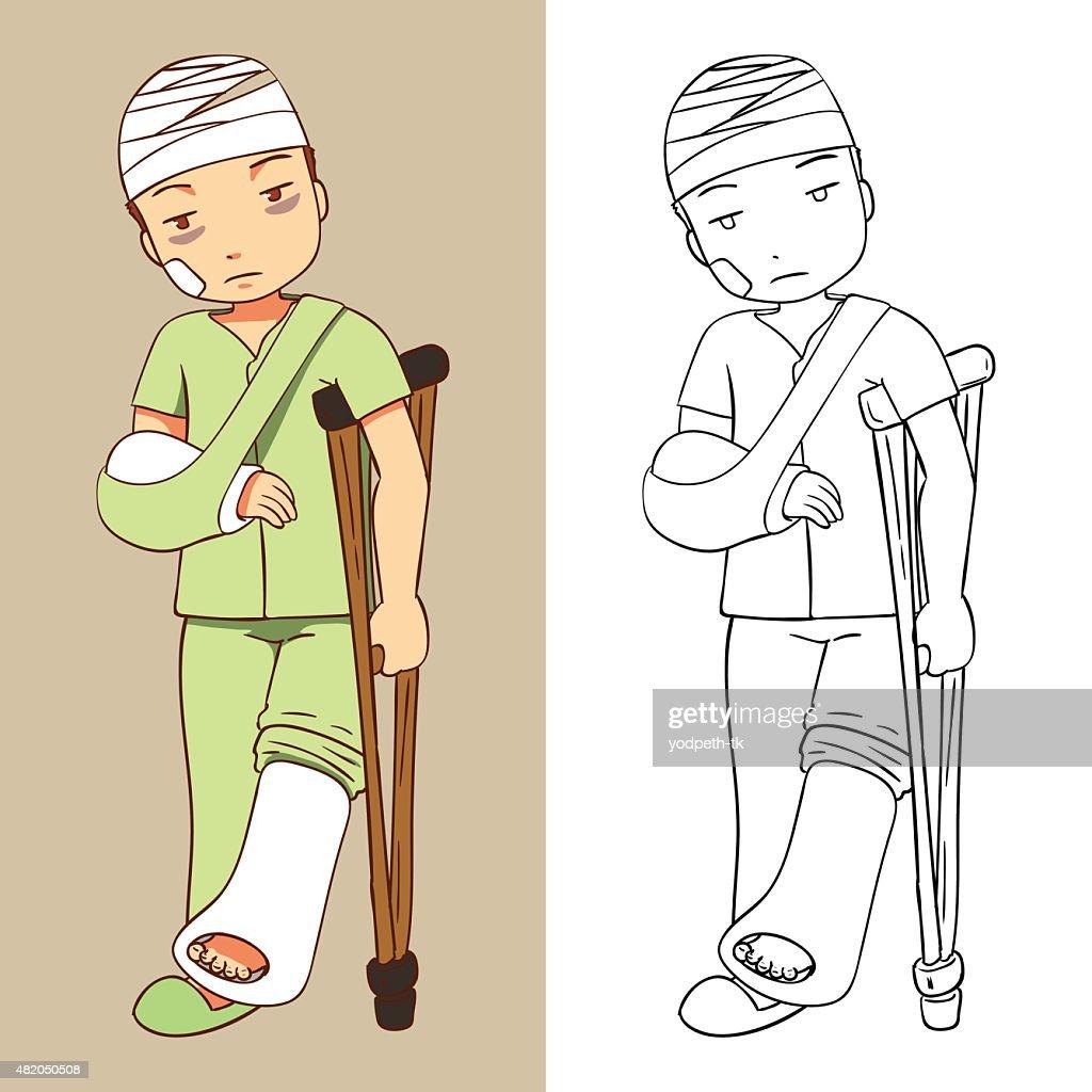 vector illustration of a man was injured