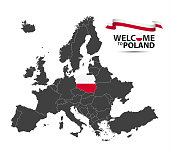 Vector illustration of a map of Europe with the state of Poland in the appearance of the Polish flag and Polish ribbon isolated on a white background