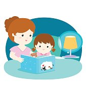 A vector illustration of a mother reading a bedtime story to her daughter.