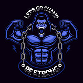 Vector illustration of a muscled gorilla with chain.