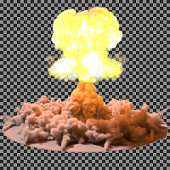 Vector Illustration of a mushroom cloud following  nuclear explosion on