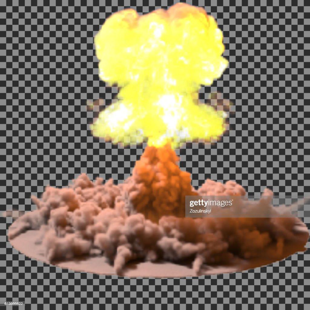Vector Illustration of a mushroom cloud following  nuclear explosion on