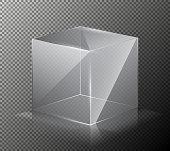 Vector illustration of a realistic, transparent, glass cube isolated on a gray background.