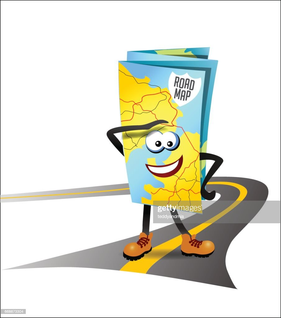 vector illustration of a road map as a cartoon character