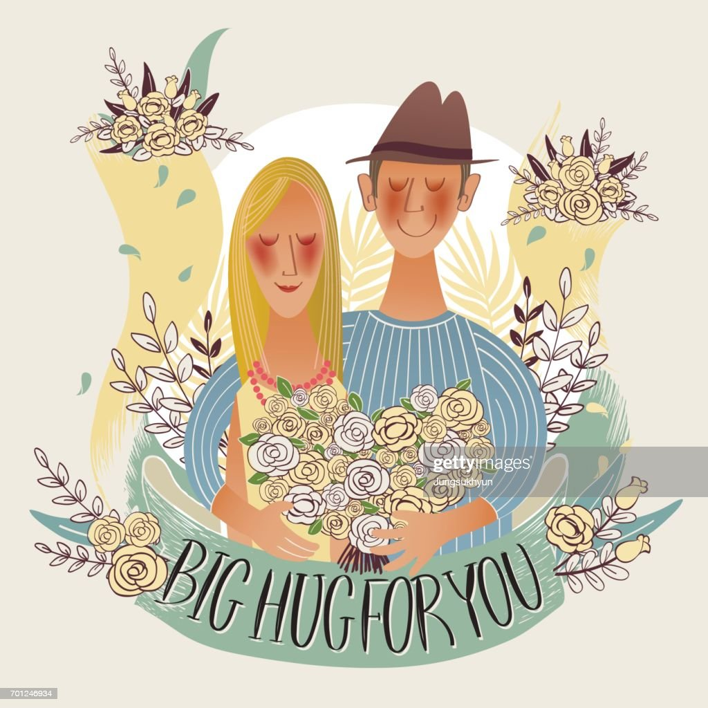 Vector illustration of a romantic couple with floral banner for wedding, anniversary, birthday and party. Design for banner, poster, card, invitation and scrapbook