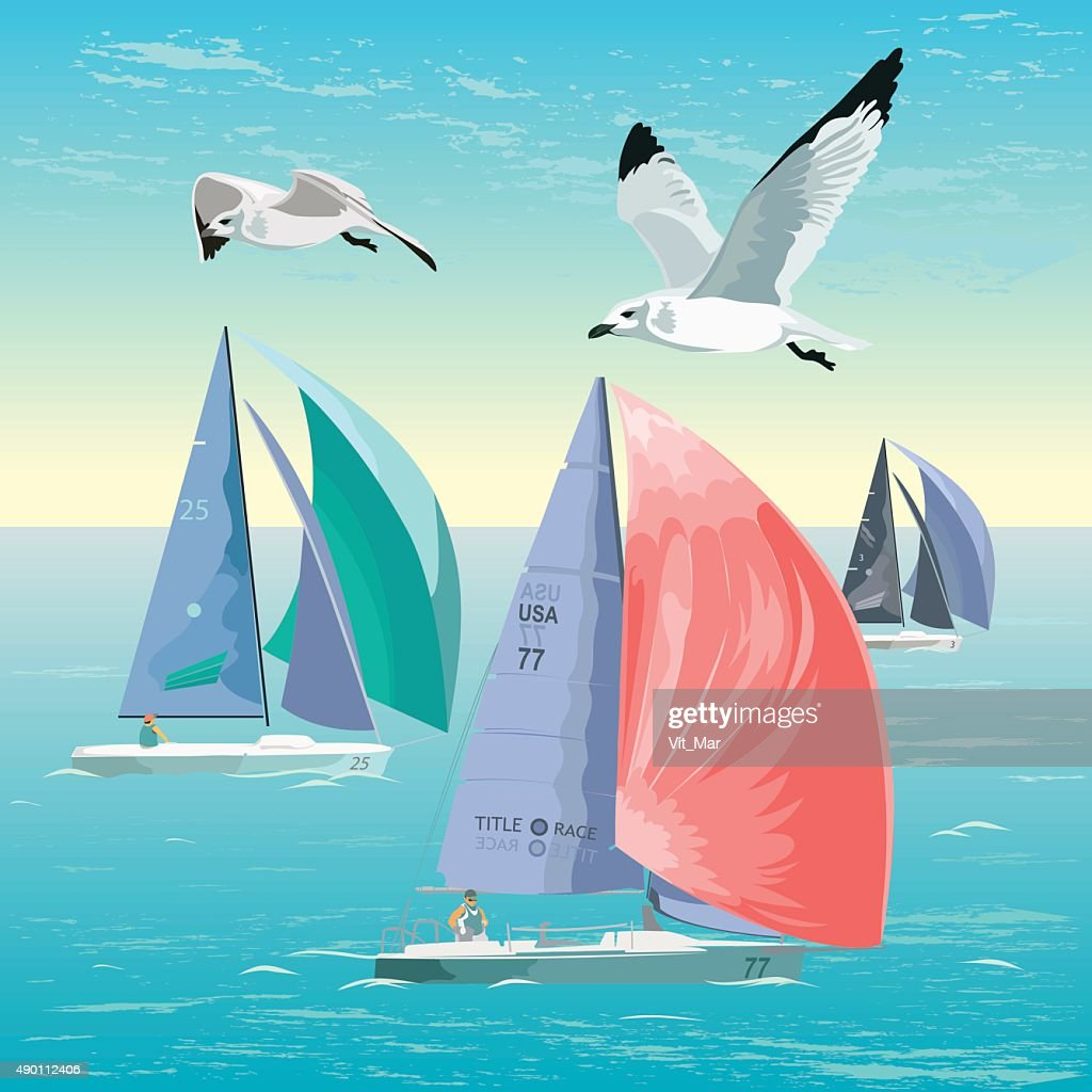 Vector illustration of a sailing regatta.
