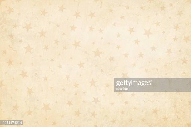 vector illustration of a semi seamless background (design only, not grunge) in vintage style, beige colored stars, swirls on a pale grunge light brown starry background. - tradition stock illustrations