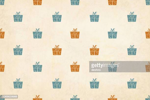 vector illustration of a semi seamless xmas grunge background (design only, not grunge)  vintage colors, beige, with wrapped up gift boxes over pale grunge background - beige stock illustrations
