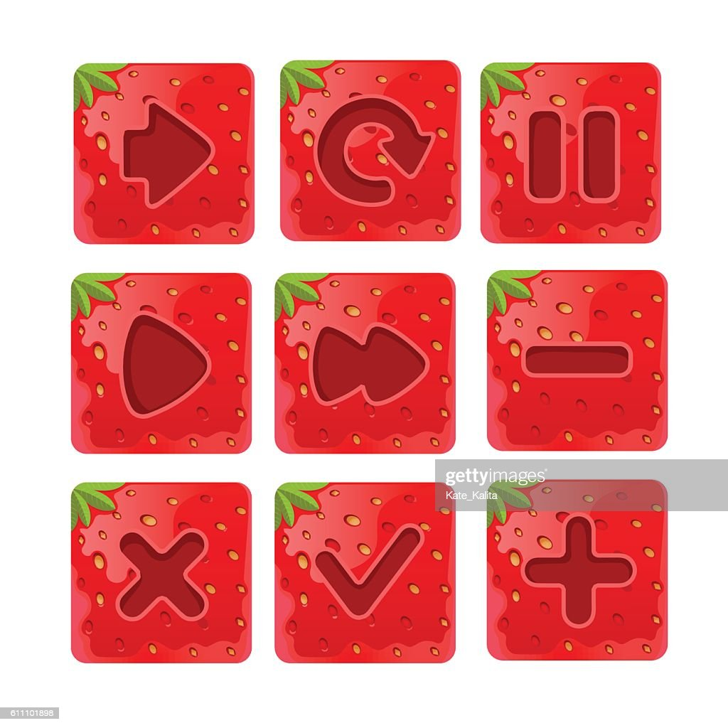Vector illustration of a set  Cartoon red buttons