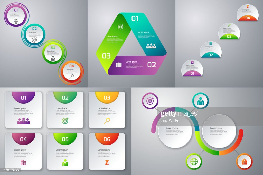 Vector illustration of a set of templates infographic