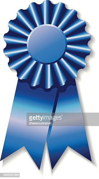 vector illustration of a shiny blue award ribbon - agricultural fair stock illustrations, clip art, cartoons, & icons