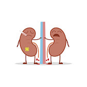 Vector illustration of a sick and sad kidneys in cartoon style due to cystitis or other related diseases.
