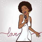 vector illustration of a singing  woman