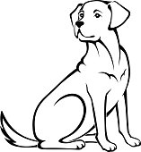 Vector illustration of a sitting dog.
