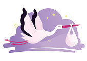 Vector illustration of a stork carrying a baby in a bag
