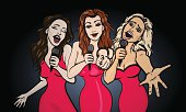vector illustration of a three singing  woman .