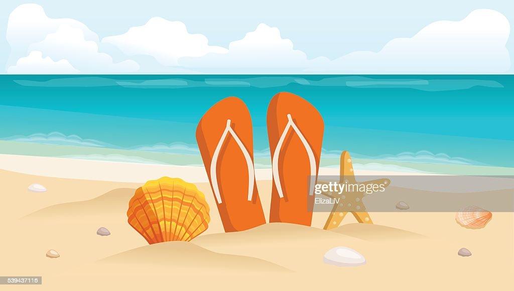 Vector illustration of a travel postcard, flyer, beach, sea, shells