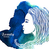 A vector illustration of a watercolor woman