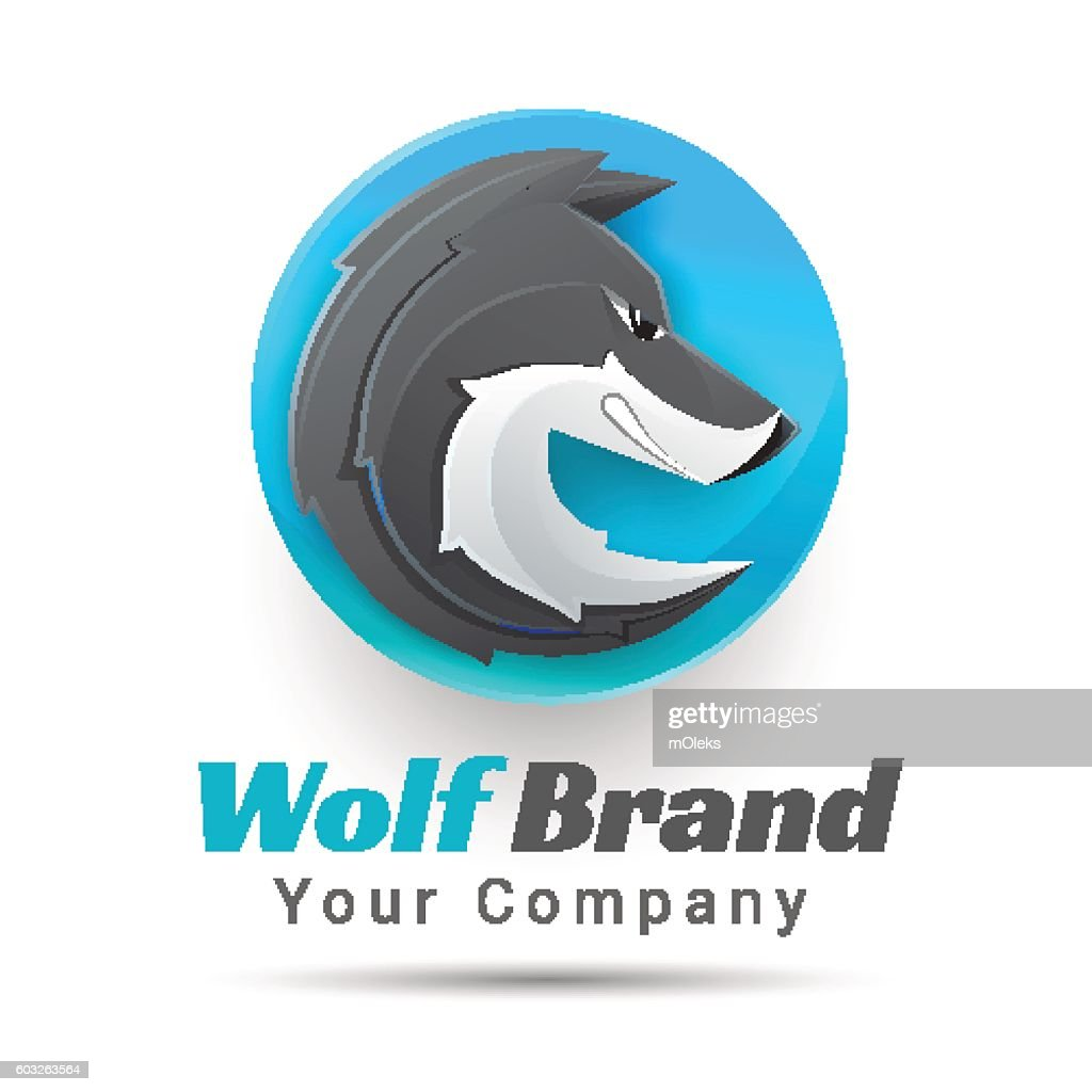 Vector illustration of a wolf logo. Creative colorful abstract design