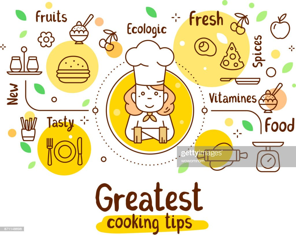 Vector illustration of a woman chief cook with food icons. Thin line art design with a cook in a chef hat for web, site, banner, menu, poster.