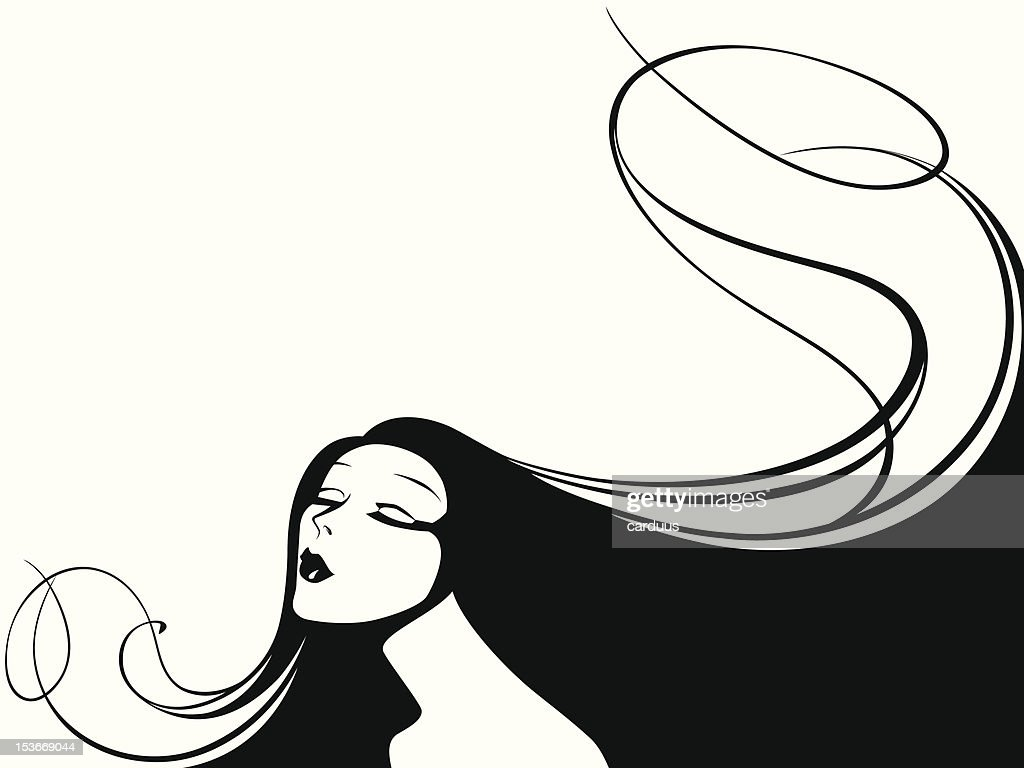 vector illustration of a woman with long hair.