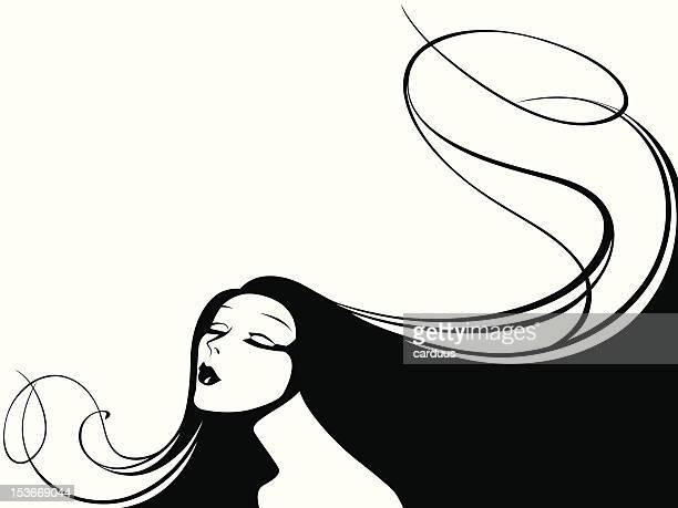 ベクトルイラストの女性の長い髪に仕上げます。