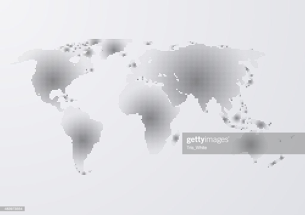 Vector illustration of a world map of dots