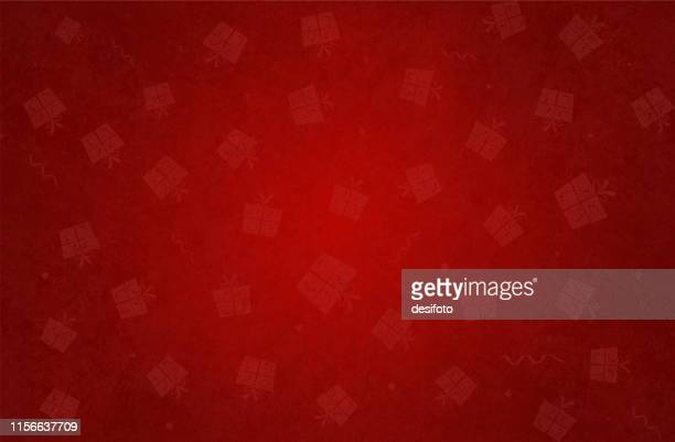 vector illustration of a xmas grunge background in bright red color with celebration elements wrapped up gift boxes - christmas paper stock illustrations