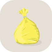 Vector illustration of a Yello plastic medical waste bag icon.