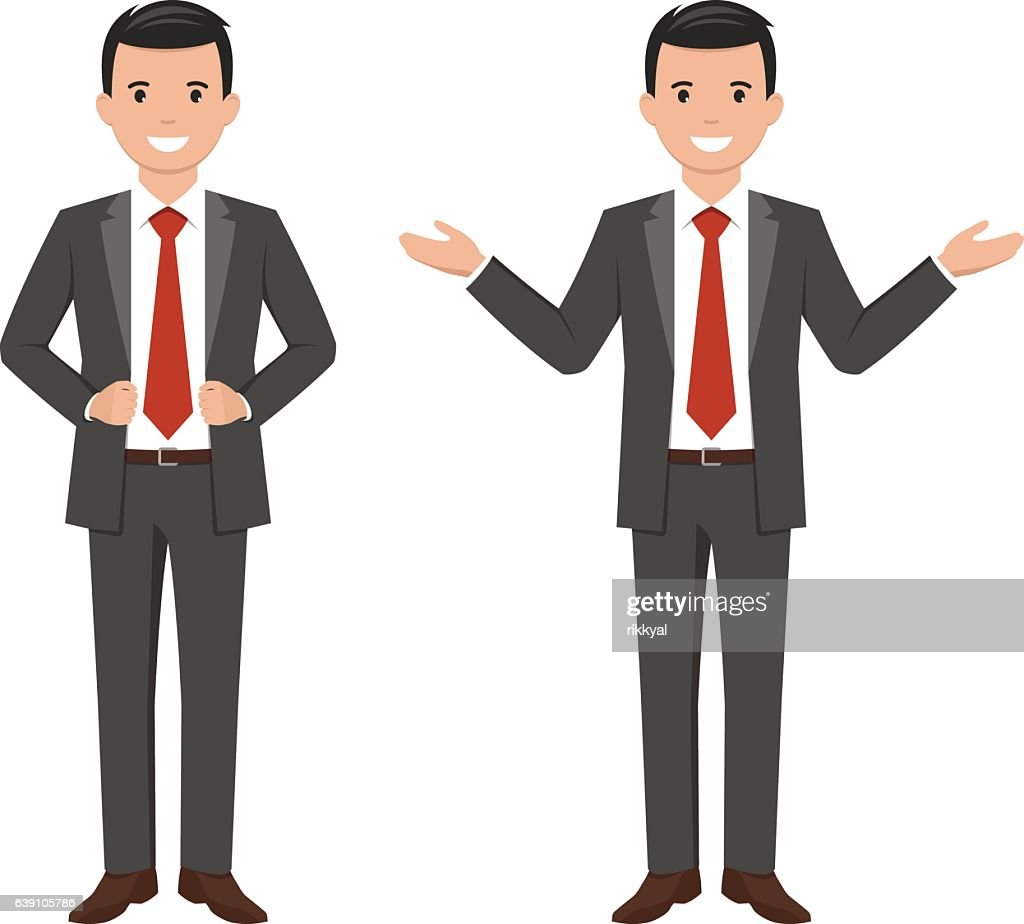 Vector illustration of a young cartoon style smiling businessman