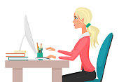 Vector Illustration of a young pretty sexy woman working on desktop computer.