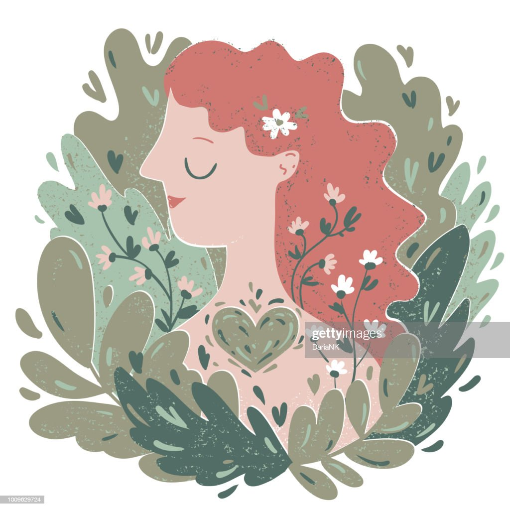 Vector illustration of a young woman among the leaves anf flowers. A girl in harmony with nature concept.