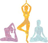A vector illustration of a young woman doing yoga